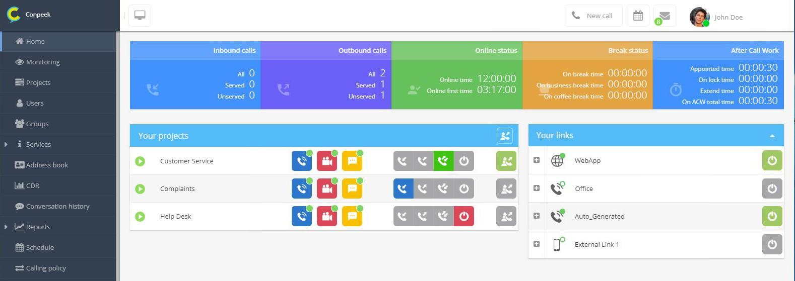 Panel systemu contact center jest responsywny i umożliwia wygodne korzystanie z aplikacji zarówno na komputerze PC, laptopie, jak i tablecie